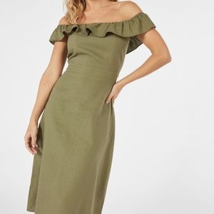 AVAILABLE NWT Linen Off the Shoulder Midi Dress